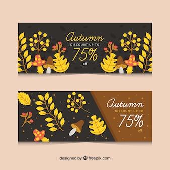 Insieme delle bandiere di autunno con foglie