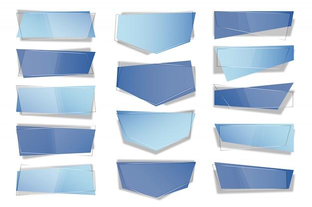 Insieme delle bandiere di vettore geometrico piatto alla moda.