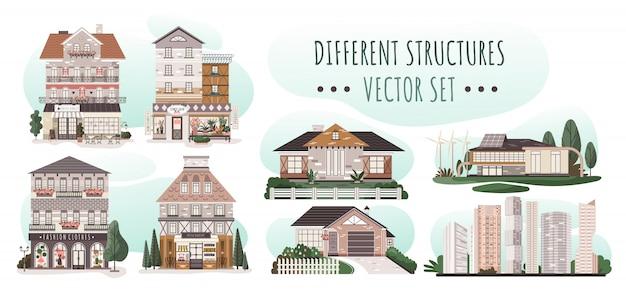 Insieme delle case differenti, architettura residenziale moderna, illustrazione