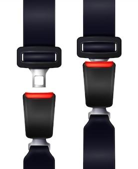 Insieme delle cinture di sicurezza realistiche dell'automobile nell'illustrazione isolata vista fissa e sbloccata