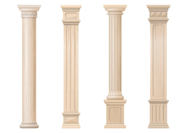 Insieme delle colonne di legno classiche di vettore