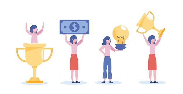 Insieme delle donne di affari con il premio della tazza e fattura con l'idea della lampadina