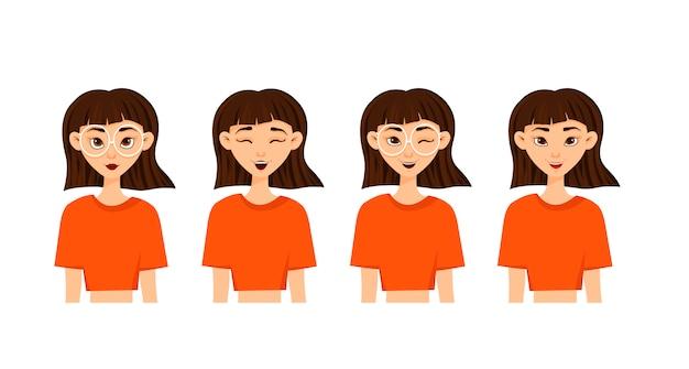 Insieme delle emozioni della donna. espressione facciale. avatar ragazza. illustrazione vettoriale di un design piatto.