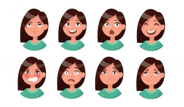 Insieme delle emozioni della donna. espressione facciale. avatar ragazza.