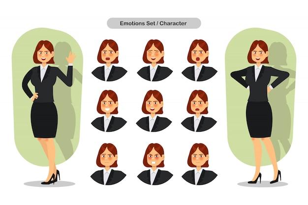 Insieme delle espressioni differenti facciali della donna di affari. personaggio emoji donna