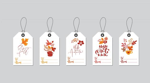 Insieme delle etichette del contenitore di regalo di autunno con la calligrafia di caduta