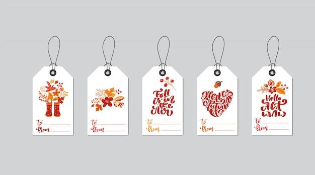 Insieme delle etichette del contenitore di regalo di autunno di vettore con la calligrafia di caduta.