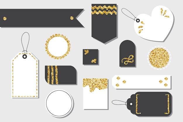 Insieme delle etichette del contenitore di regalo o delle etichette di acquisto di vendita isolate in bianco con la corda