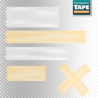 Insieme delle fette appiccicose del nastro scozzese trasparente bianco e giallo isolate