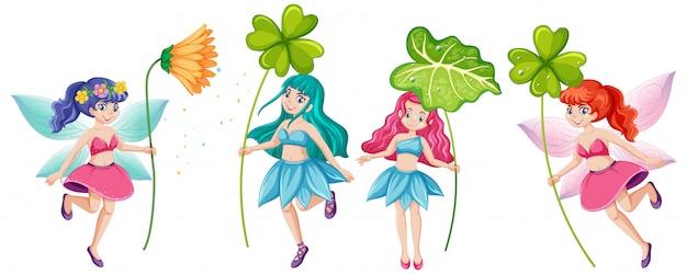 Insieme delle fiabe che tengono il personaggio dei cartoni animati del fiore su fondo bianco