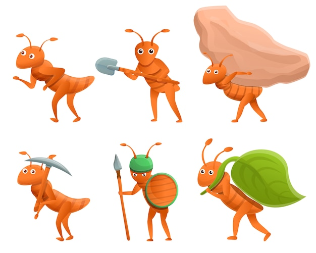 Insieme delle formiche del fumetto isolate su bianco