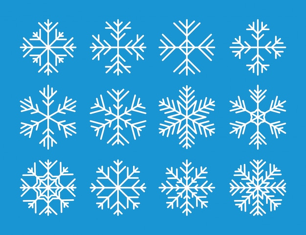Insieme delle icone bianche dei fiocchi di neve di vettore