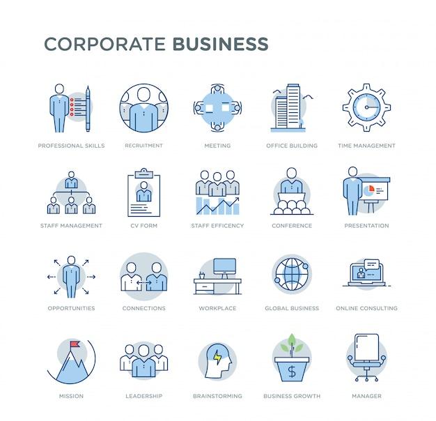 Insieme delle icone colorate di vettore relative affare corporativo. contiene icone quali abilità professionali, crescita aziendale, reclutamento, consulenza online, leadership