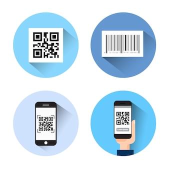 Insieme delle icone con gli smart phone di scansione di codice di barretta qr isolati su fondo bianco