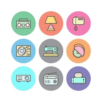 Insieme delle icone degli apparecchi elettronici isolate su bianco