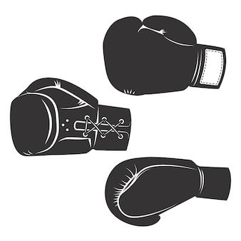 Insieme delle icone dei guantoni da pugile su fondo bianco. elementi per logo, etichetta, emblema, segno, poster. illustrazione.