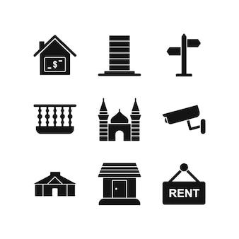 Insieme delle icone del bene immobile isolate su bianco