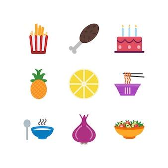 Insieme delle icone dell'alimento sugli elementi isolati vettore bianco del fondo