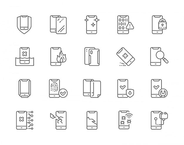 Insieme delle icone della linea di riparazione del telefono.