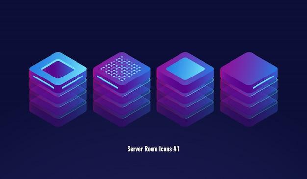 Insieme delle icone della stanza del server, del database 3d e del concetto del centro dati, oggetto di tecnologia della luce