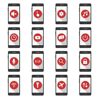 Insieme delle icone delle app mobili isolate su bianco