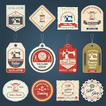 Insieme delle icone delle etichette dei distintivi del negozio del sarto