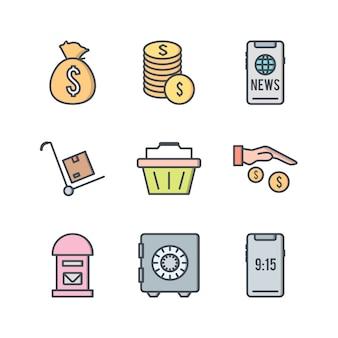 Insieme delle icone di commercio elettronico isolate su bianco