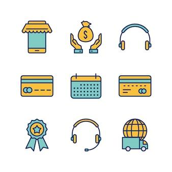 Insieme delle icone di commercio elettronico sugli elementi isolati vettore bianco del fondo