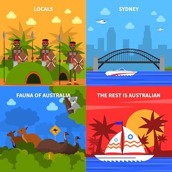 Insieme delle icone di concetto dell'australia