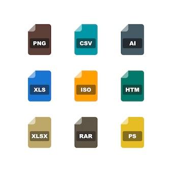 Insieme delle icone di formati di file sugli elementi isolati vettore bianco del fondo