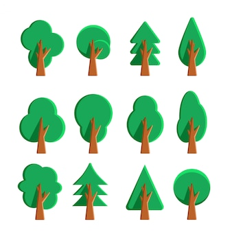 Insieme delle icone e degli elementi decorativi piani dell'albero