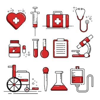 Insieme delle icone e degli elementi degli strumenti medici