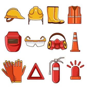 Insieme delle icone e degli elementi piani dell'attrezzatura di sicurezza