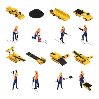 Insieme delle icone isometriche minatori di produzione di carbone con attrezzi da lavoro e veicoli minerari isolati