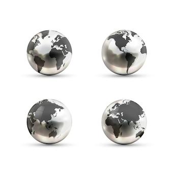 Insieme delle icone metalliche realistiche dei globi della terra dai lati differenti su fondo bianco