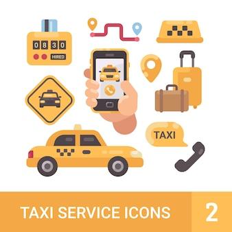 Insieme delle icone piane di servizio di taxi