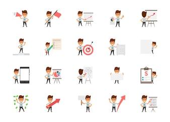 Insieme delle icone piane di vettore degli impiegati felici