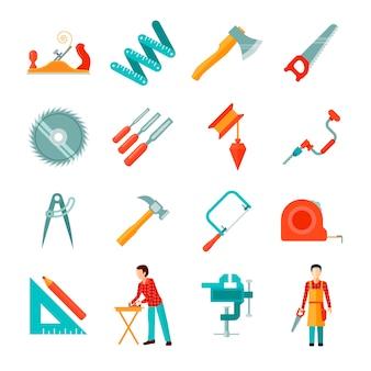Insieme delle icone piane isolate strumenti differenti del carpentiere