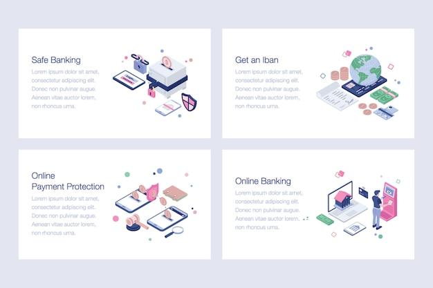 Insieme delle illustrazioni bancarie online