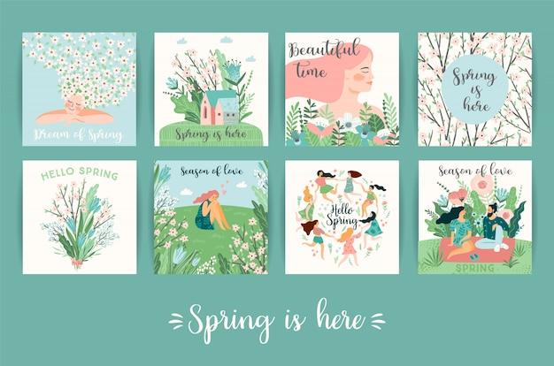 Insieme delle illustrazioni carine con persone e natura di primavera.