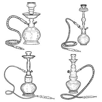 Insieme delle illustrazioni del narghilé su fondo bianco. elementi per poster, emblema, segno, distintivo. immagine