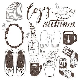 Insieme delle illustrazioni di doodle urbano autunno casual disegnati a mano. scarabocchi di vettore di caduta di hipster.