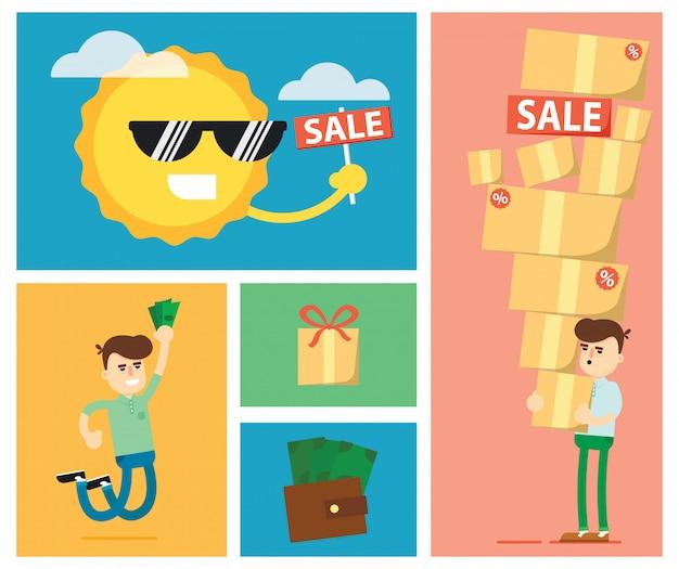 Insieme delle illustrazioni di vendita di sconto