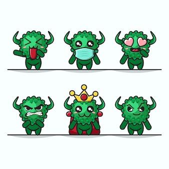 Insieme delle mascotte sveglie grafiche di coronavirus dell'illustrazione