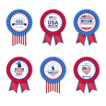 Insieme delle medaglie di giorno di veterano isolate su fondo bianco, raccolta dei distintivi di festa nei colori della bandiera degli sua