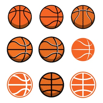 Insieme delle palle di pallacanestro su fondo bianco. elemento per poster, logo, etichetta, emblema, segno, maglietta. illustrazione