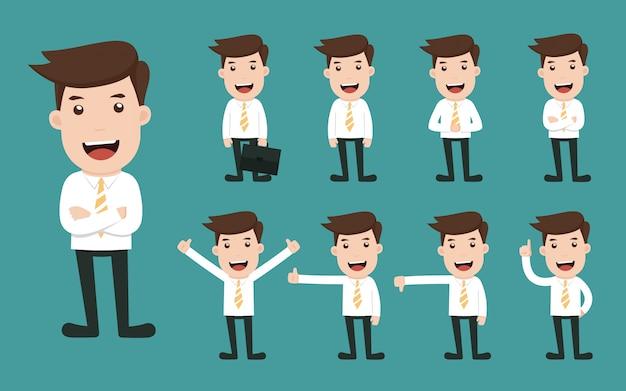 Insieme delle pose differenti del carattere dell'uomo d'affari.