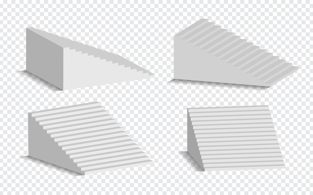 Insieme delle scale bianche 3d isolate. scale bianche architettoniche, raccolta di punti per l'illustrazione interna