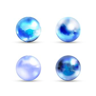 Insieme delle sfere di marmo lucide blu con luce vivida su bianco