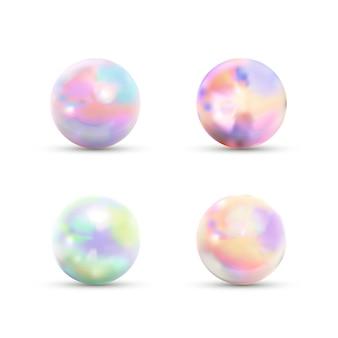 Insieme delle sfere di marmo lucide realistiche con luce vivida dell'arcobaleno isolata su bianco